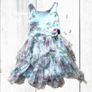 Girls Baby Blue Floral Asymmetric Tiered Dress 7